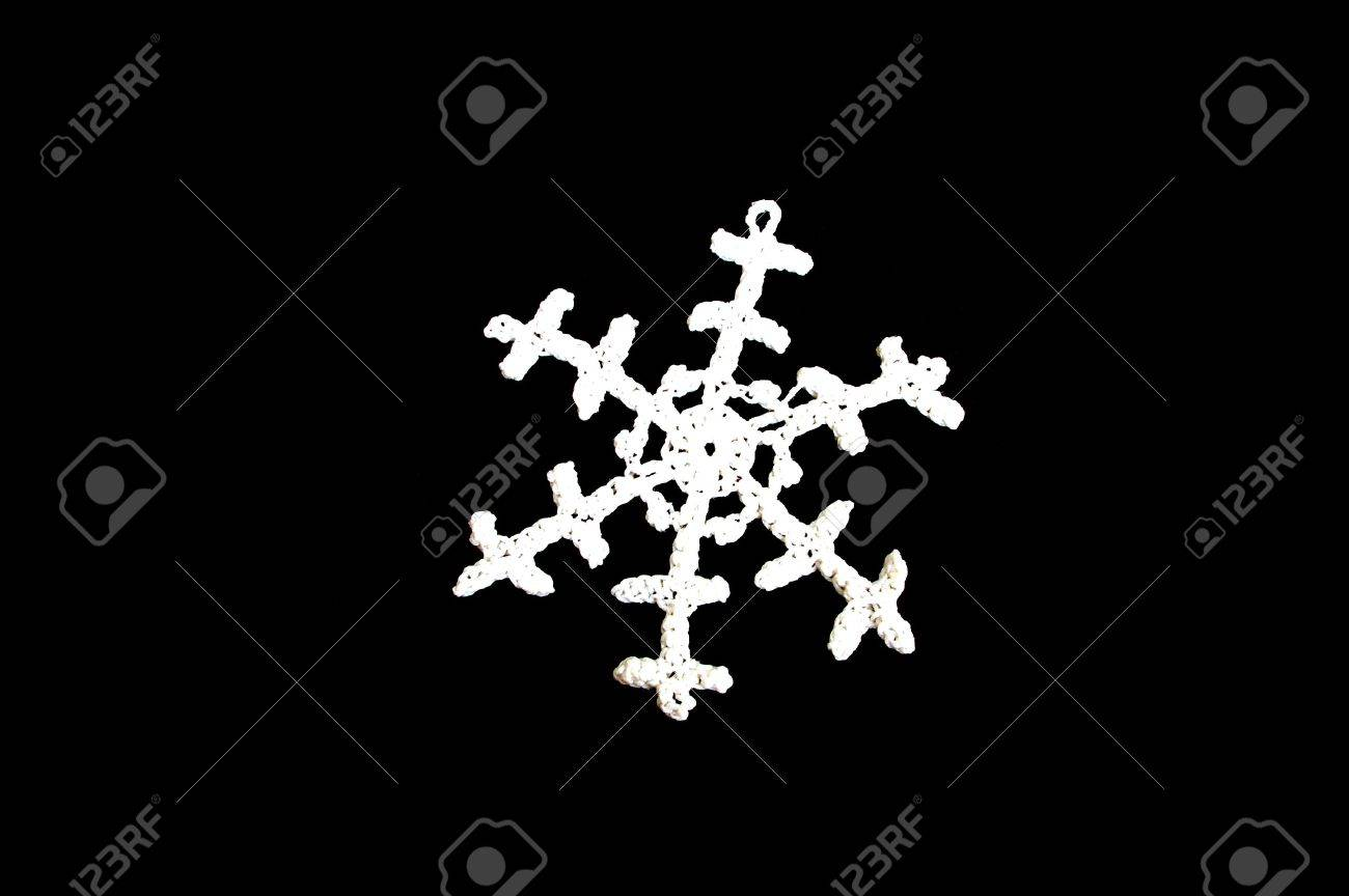 White snowflake on a black background Stock Photo - 2150275