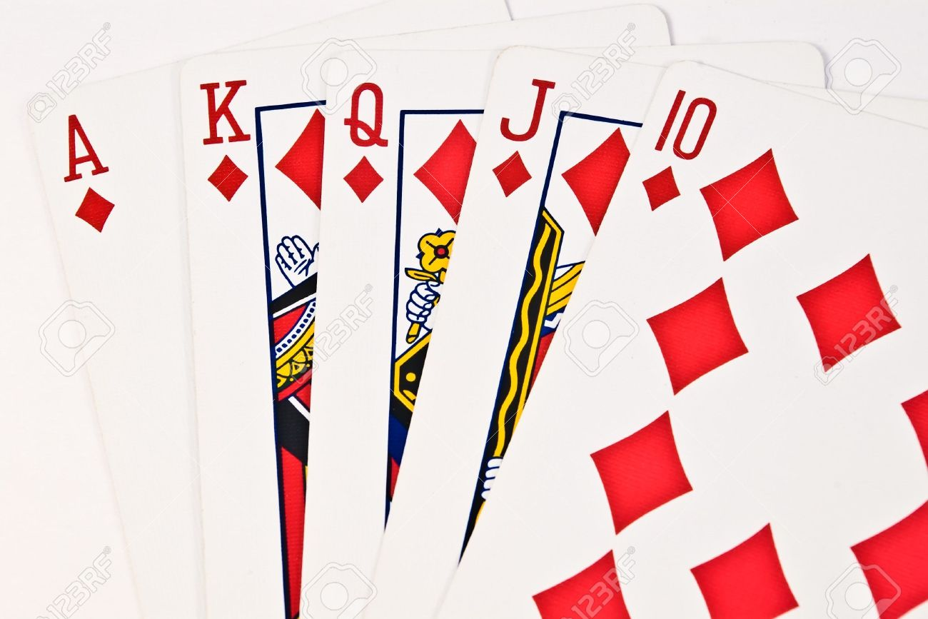 Royal Flush Poker Hand In Diamond Suit Stock Photo Picture And Royalty Free Image Image 2205637