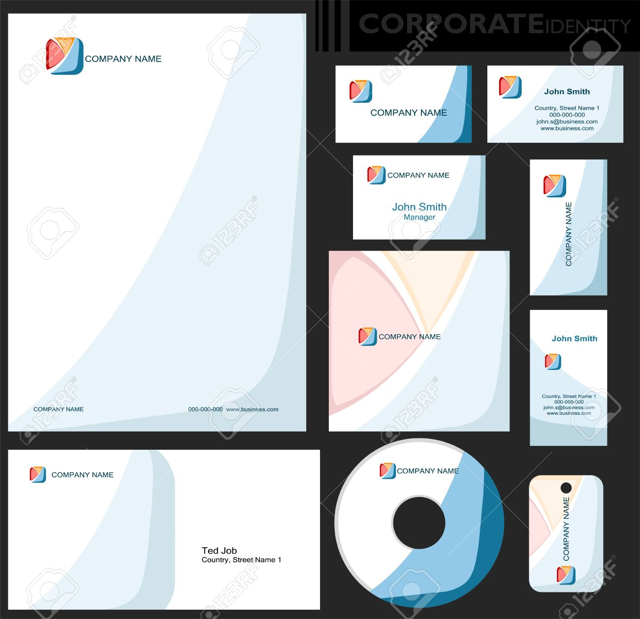 Corporate identity template editable set design including business corporate identity template editable set design including business paper cards id cd wajeb Images