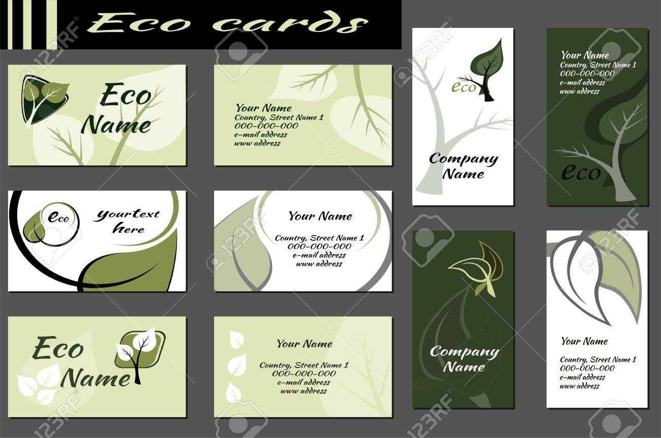Set of backgrounds for ecological business cards which contains set of backgrounds for ecological business cards which contains plants leaves and place for sciox Gallery