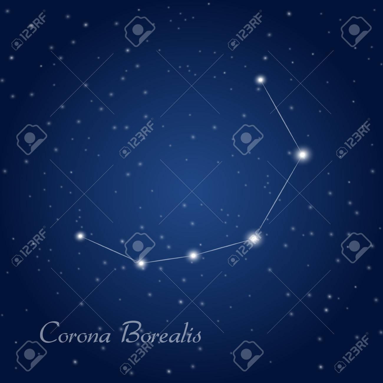 Corona Borealis Constellation At Starry Night Sky Royalty Free Cliparts Vectors And Stock Illustration Image 53438462