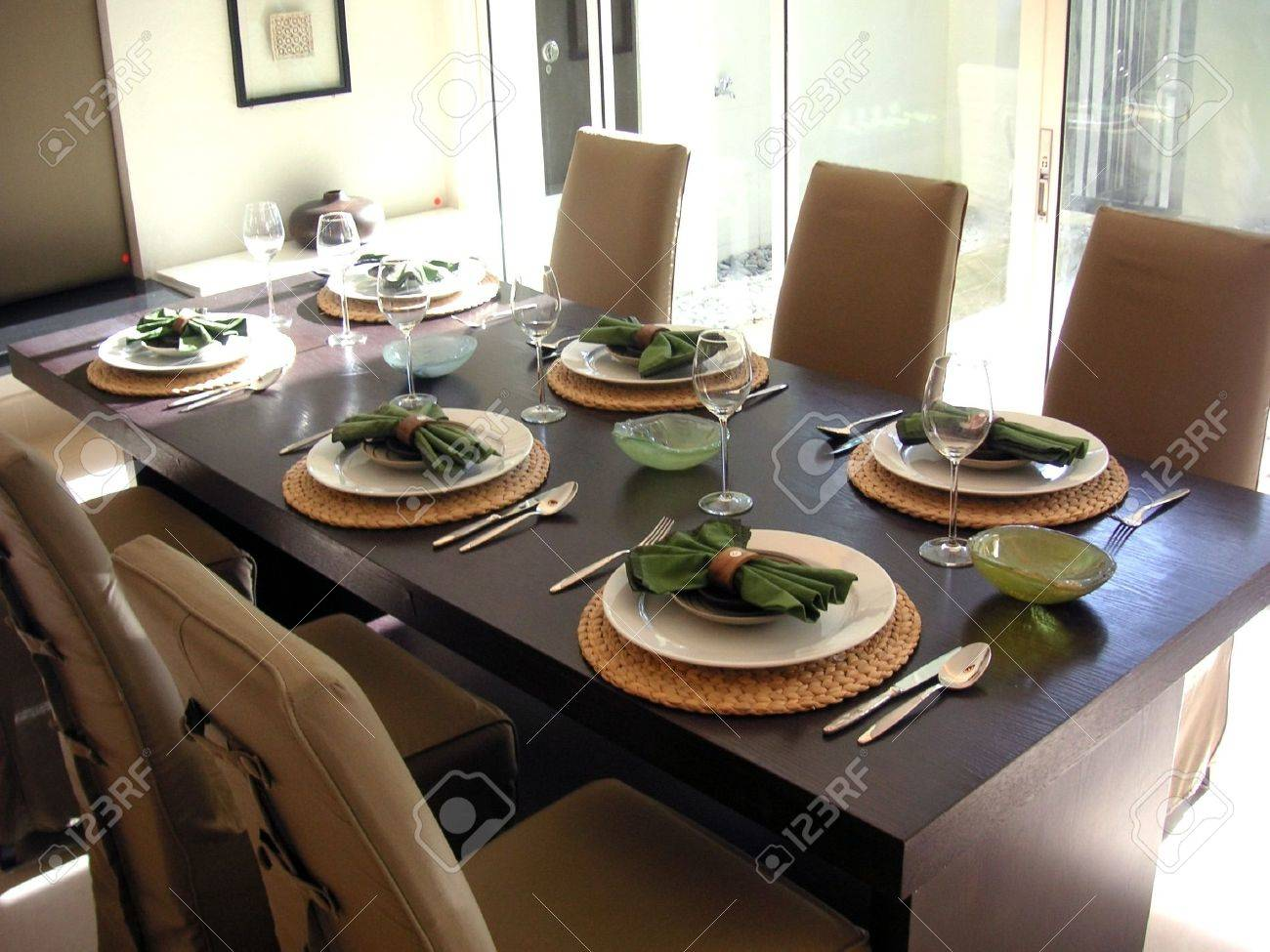 Dining table with chairs, modern asian design - 387714
