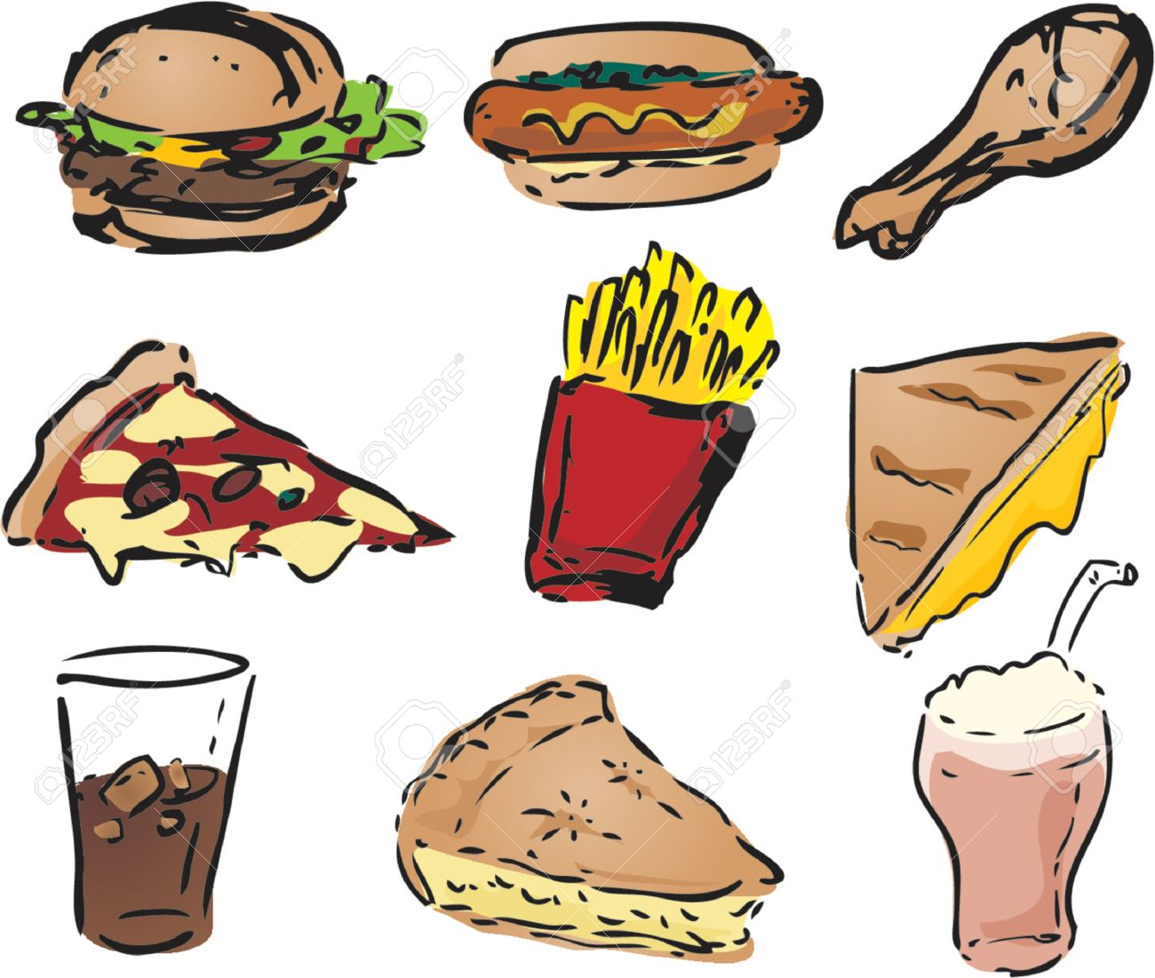 Fast food icons, hand-drawn look: hamburger, hotdog, fried chicken, pizza, fries, grilled cheese sandwich, pie, shake Stock Vector - 700123