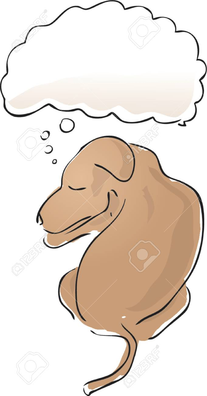 Illustration of a sleeping dog with a thought balloon over his head Stock Vector - 727637