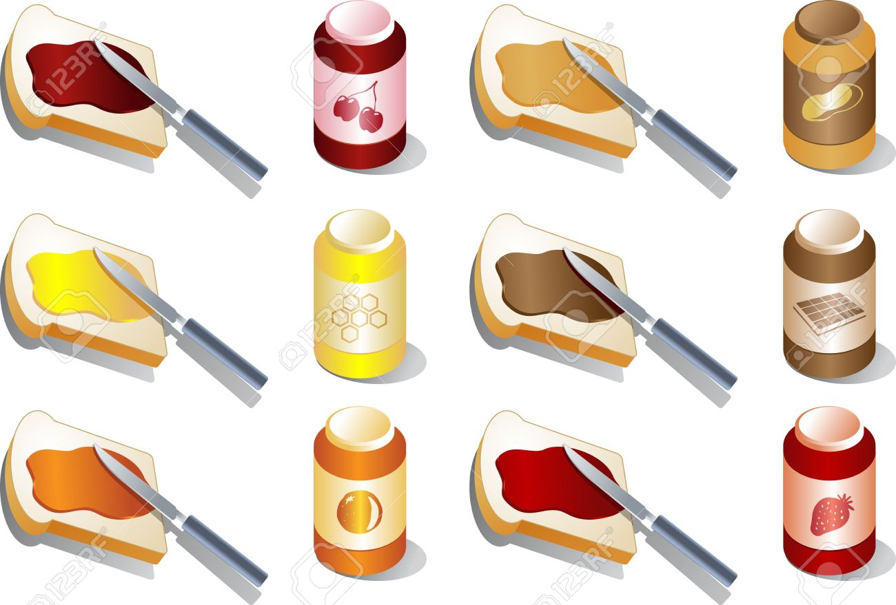 Various spreads and jams: marmalade, strawberry and cherry, peanut butter, chocolate. Isometric 3d illustration Stock Photo - 1066661
