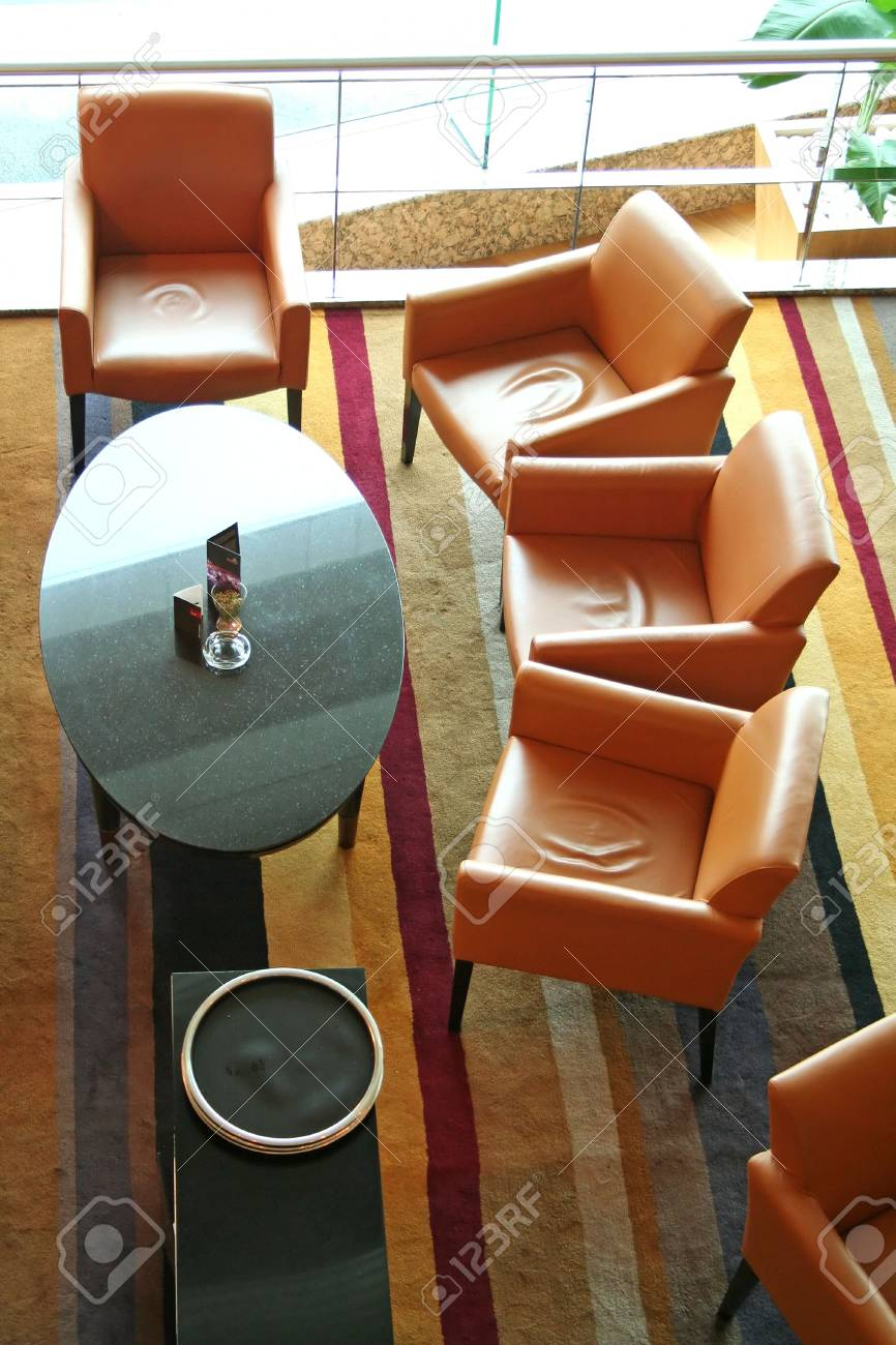 Overhead view of a lounge wiht sofas and chairs Stock Photo - 1298826