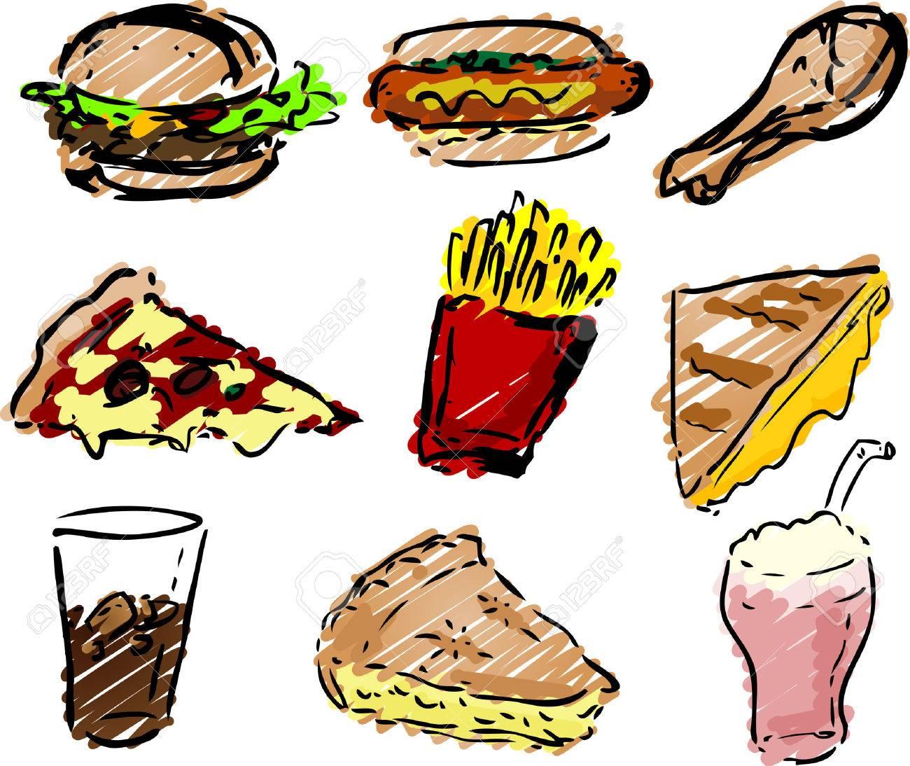 Comida Rápida Iconos, Dibujado A Mano Ver: Hamburguesas, Perros ...
