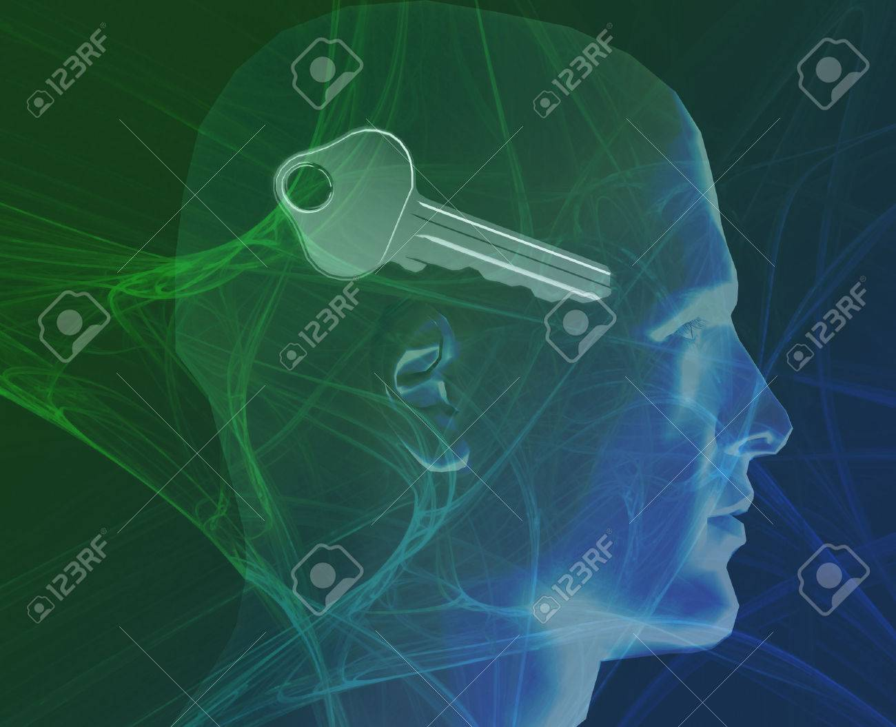 Security minded digital collage of human profile with key Stock Photo - 1499054