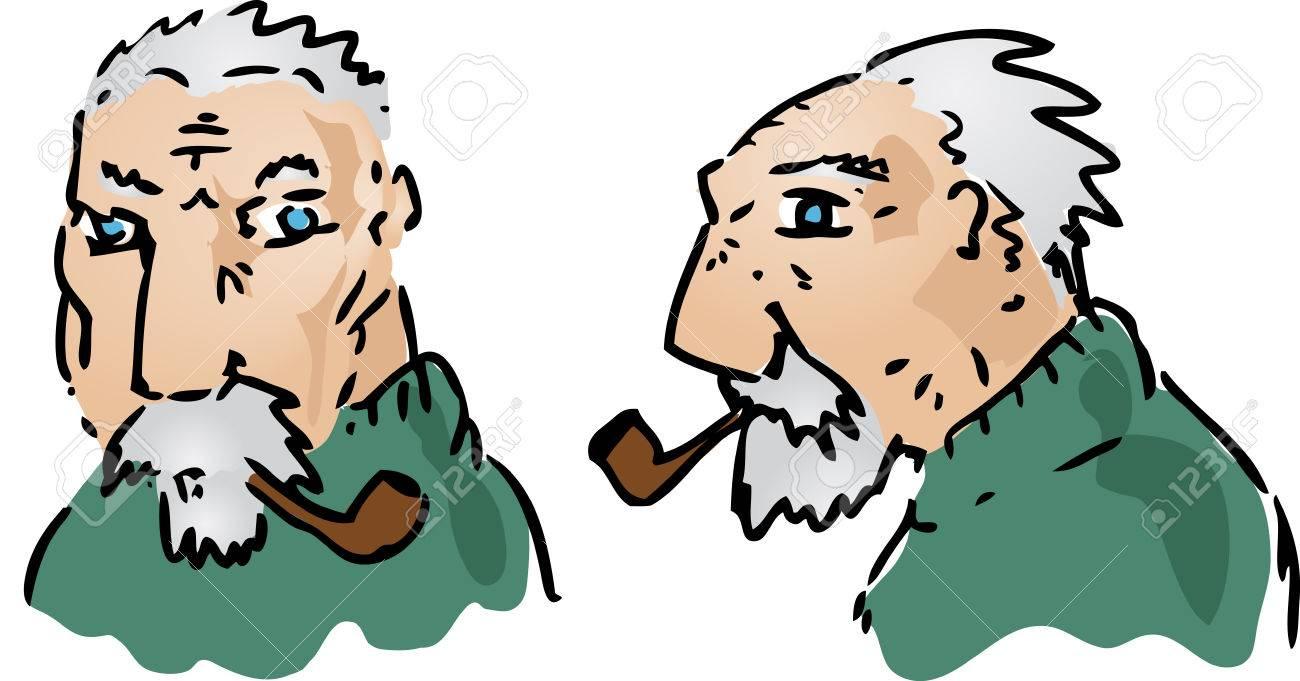 Cartoon illustration of an elderly grey-haired man Stock Illustration - 1499005