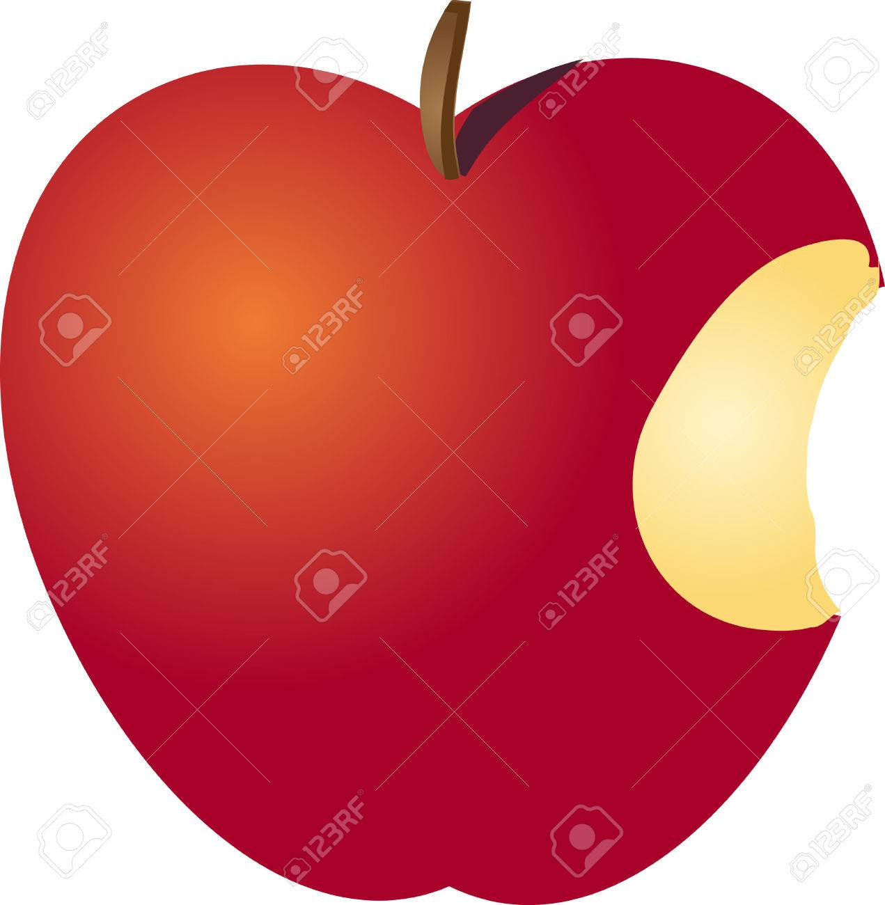 Eaten Red, Apple With A Bite Isometric Illustration Stock Photo ...