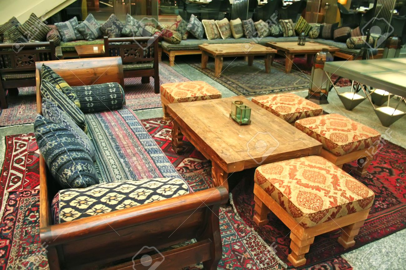 arabic middle-eastern style interior design and furniture stock