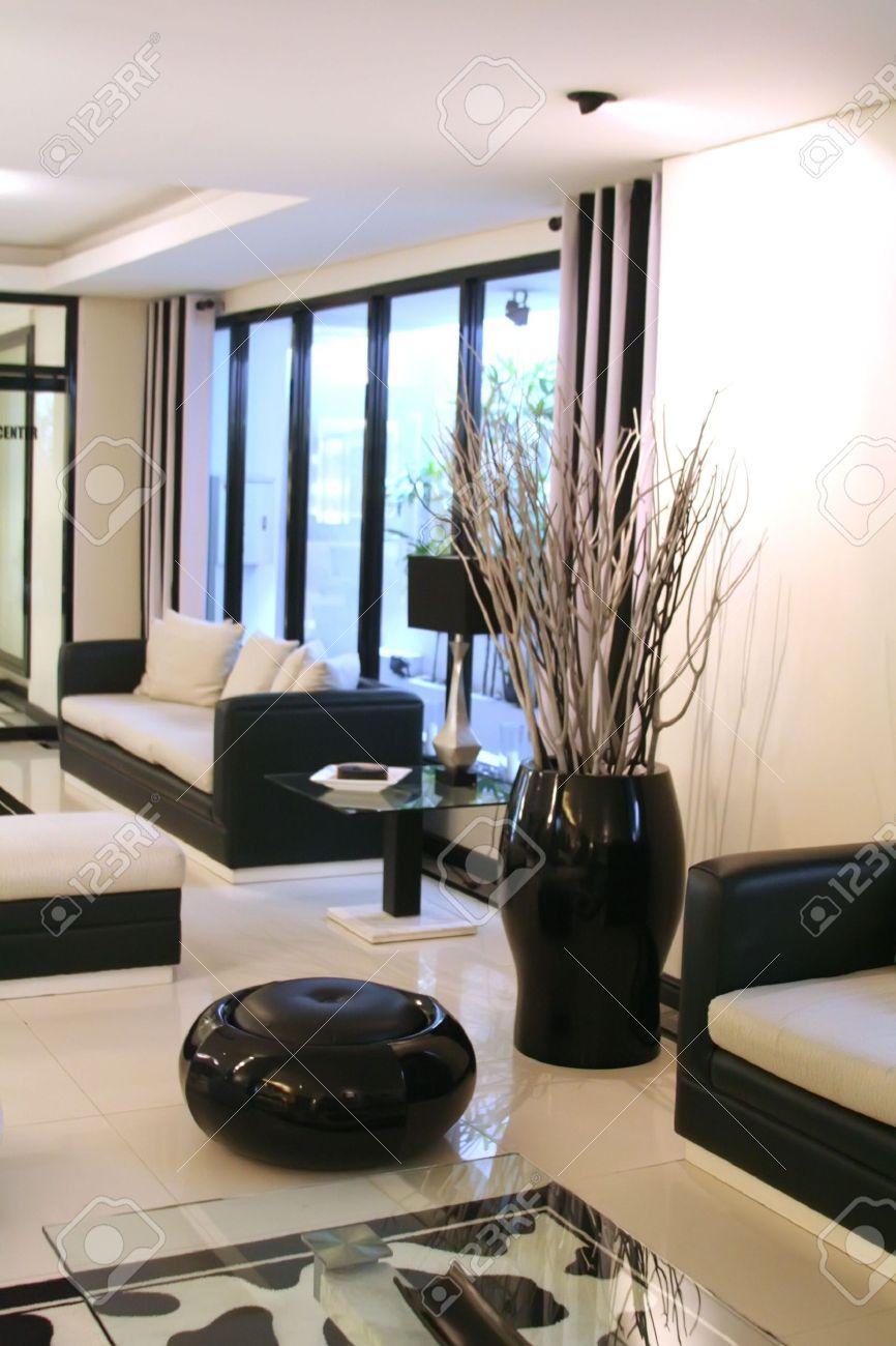 Wohnzimmer Wartezimmer Mit Modernen Eleganten Schwarz-Weiß-Design ...