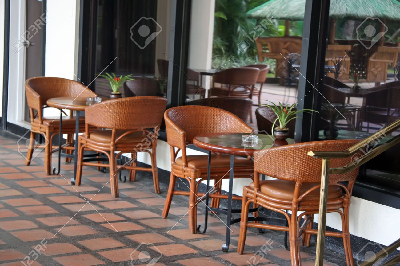 Open Air Poolside Tropical Casual Restaurant Cafe Furniture Stock