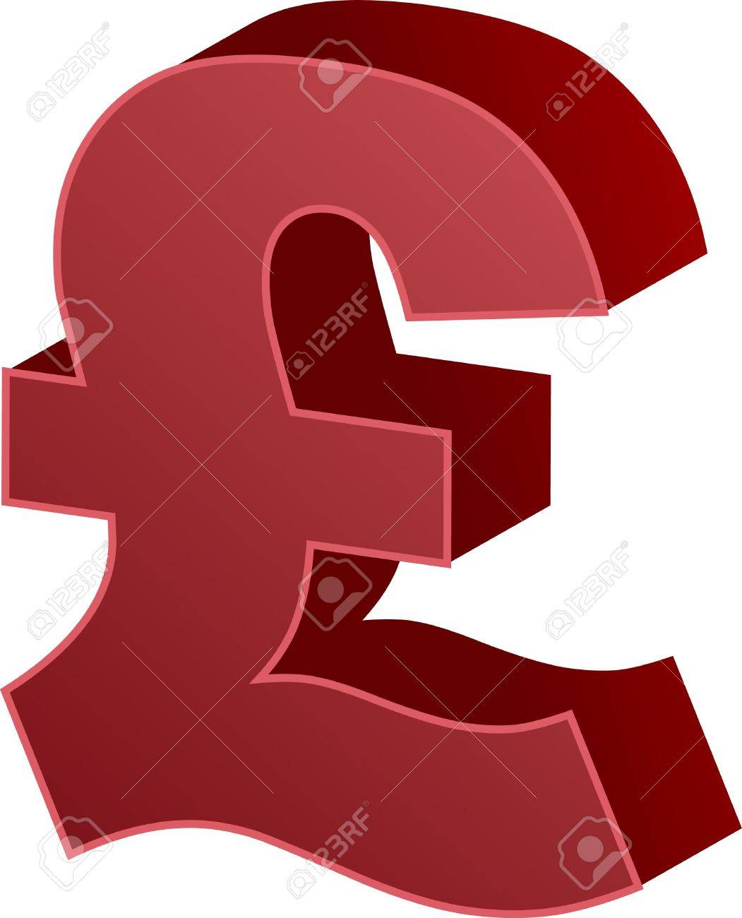 United Kingdom Pound Sterling Currency Symbol Isometric Illustration