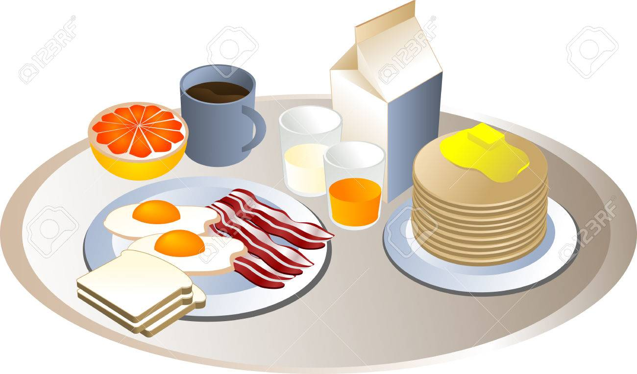 Complete breakfast, isometric-style illustration: bacon, eggs, bread, milk, pancakes, grapefruit, juice Stock Vector - 2459781