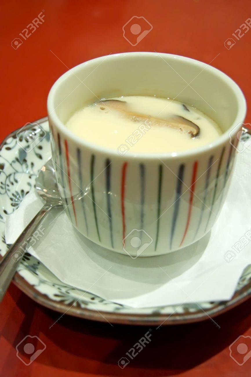 Chawanmushi Japanese Steamed Egg Custard Soup In Ceramic Bowl Stock Photo 3210717