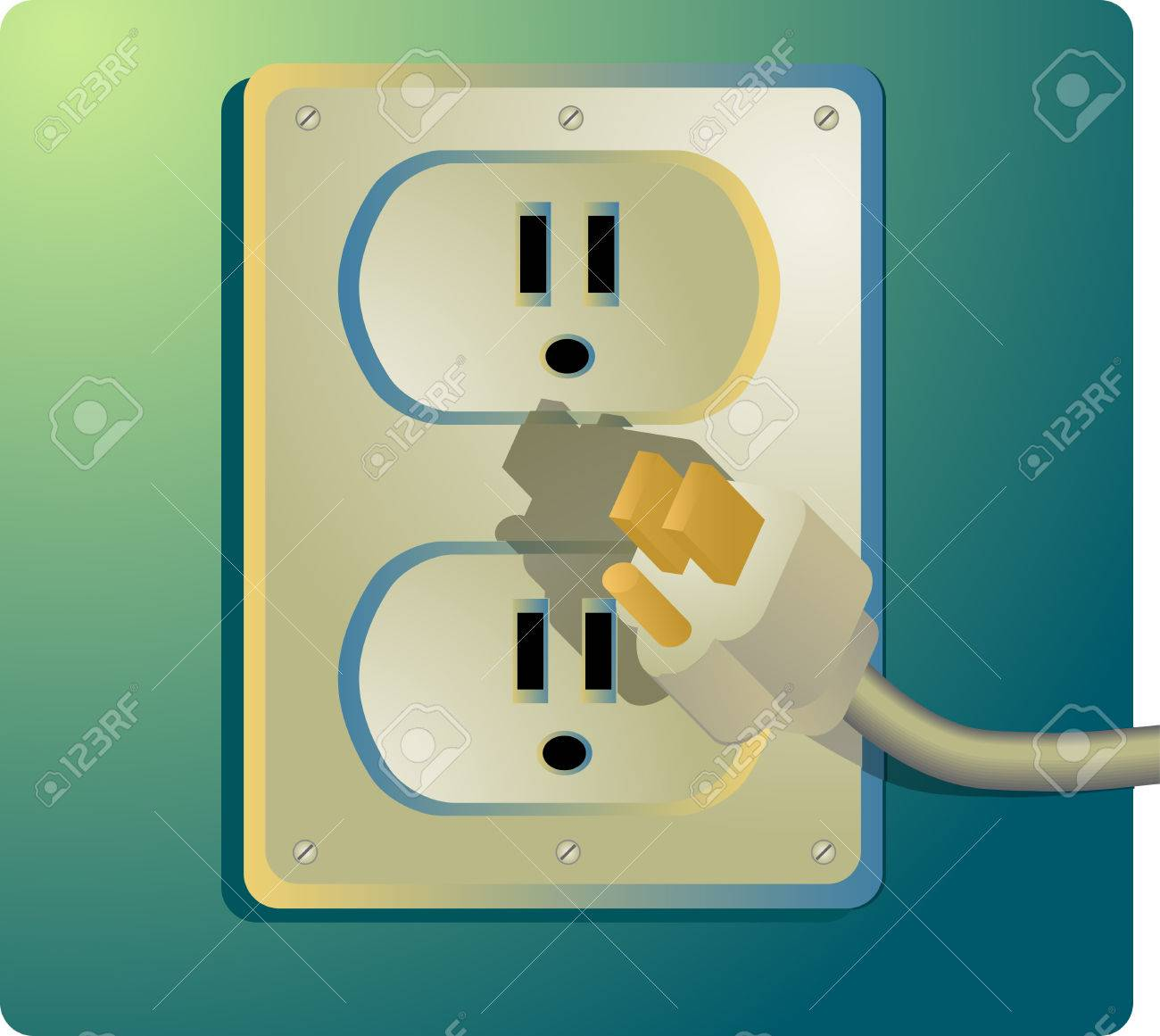 Illustration of a power outlet and plug; US-style outlet Stock Vector - 3279402