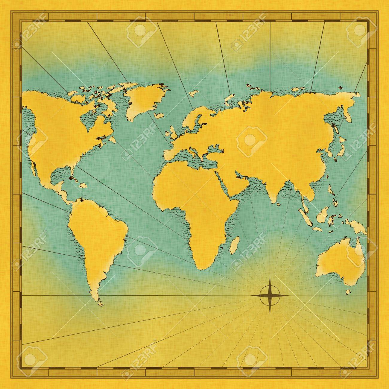 Illustration World Antique Old Map Lines Surface Rounded