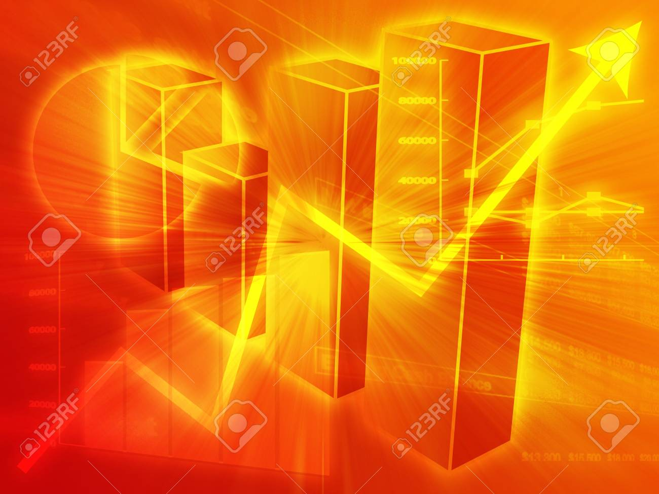 Illustration of Spreadsheet data and  charts in glowing wireframe style Stock Illustration - 3464369