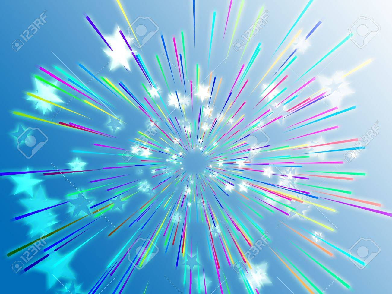 Central bursting explosion of dynamic flying stars, abstract illustration Stock Illustration - 3464474