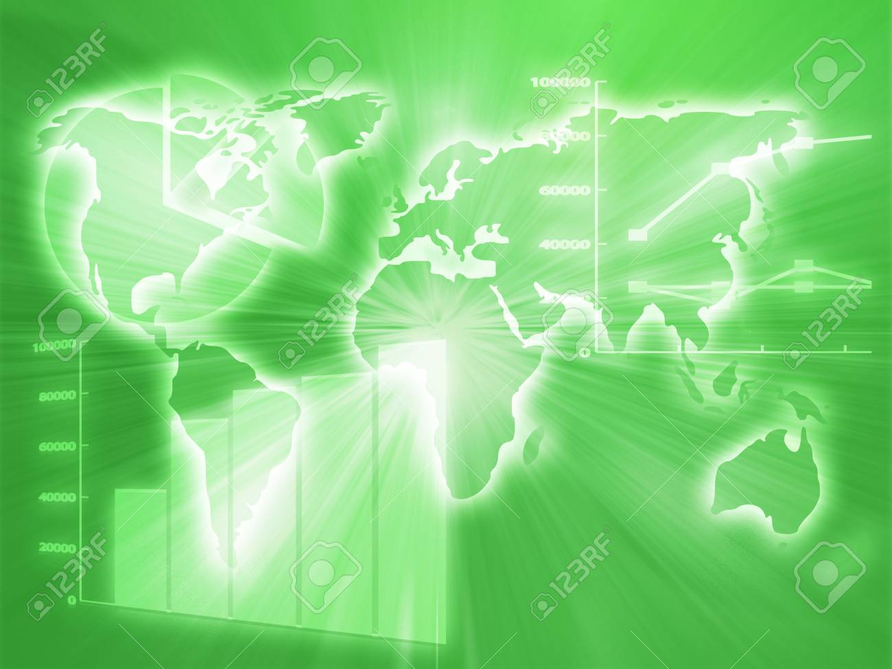 Illustration of Spreadsheet data and business charts in glowing wireframe style Stock Illustration - 3710325