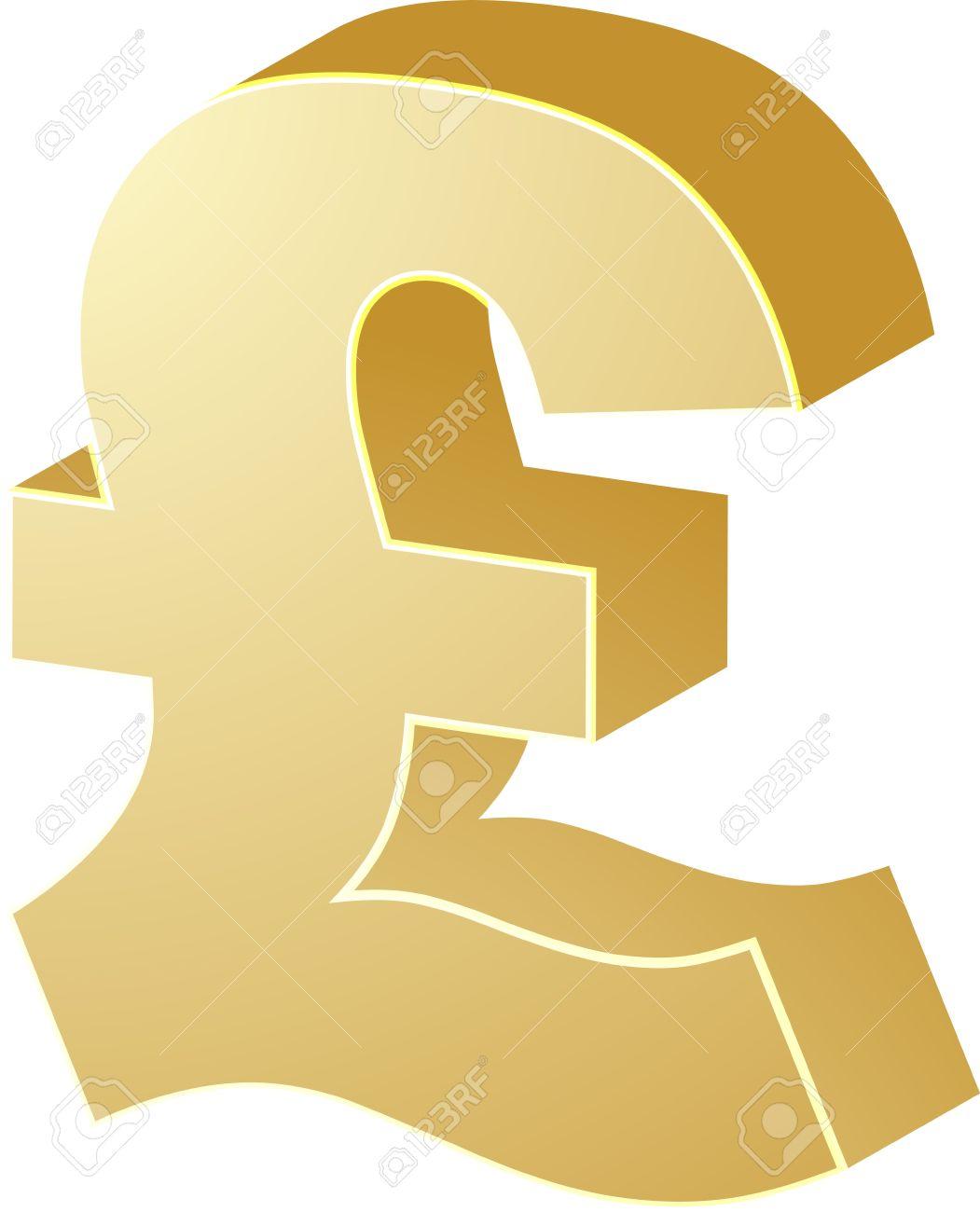 British Uk Pounds Currency Symbol Isometric Illustration Stock Photo