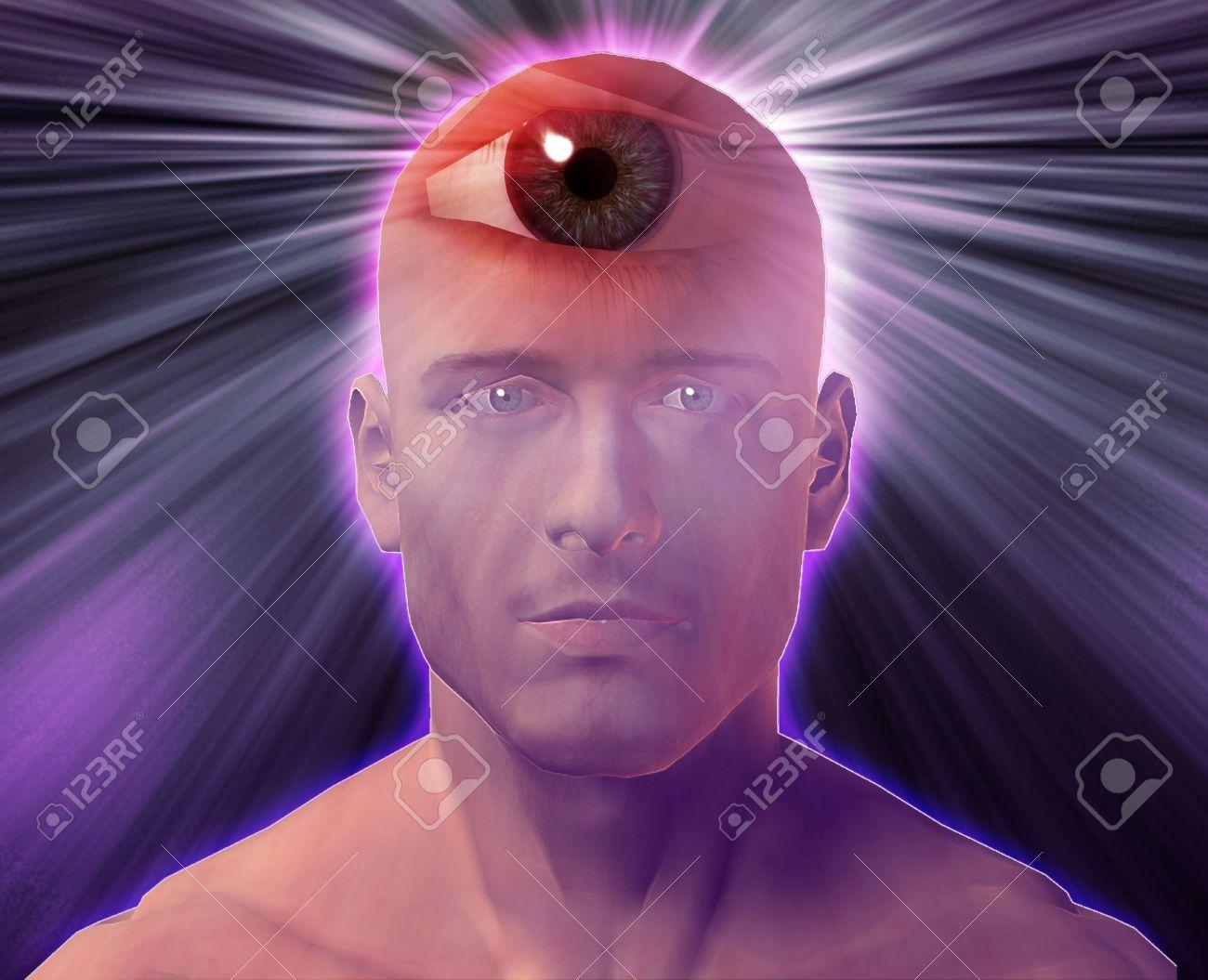 Man with third eye, psychic supernatural senses Stock Photo - 3725419