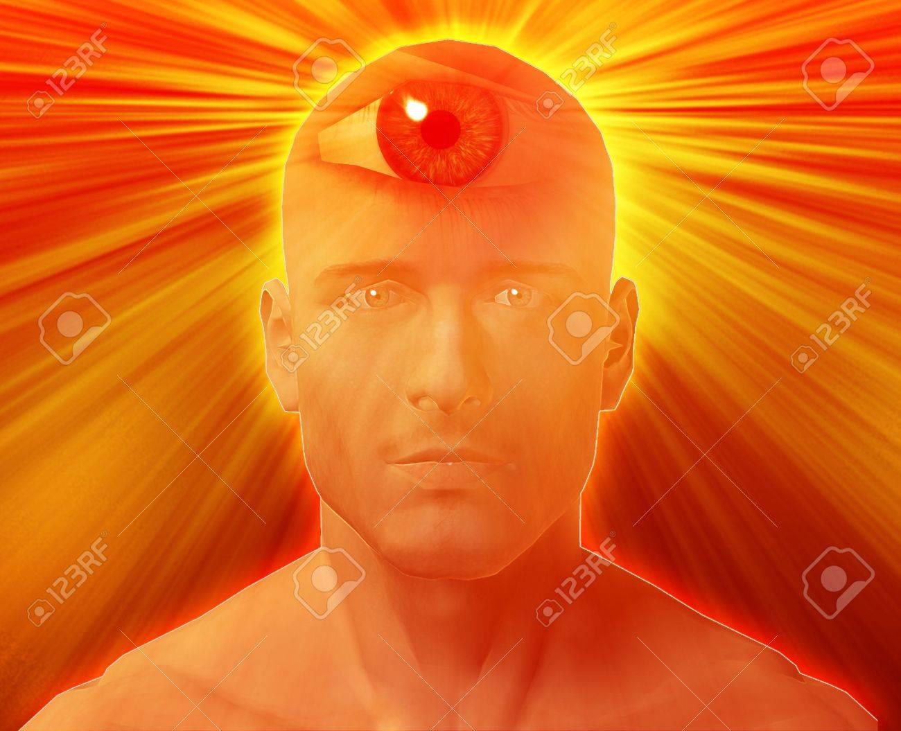 Man with third eye, psychic supernatural senses Stock Photo - 3745884