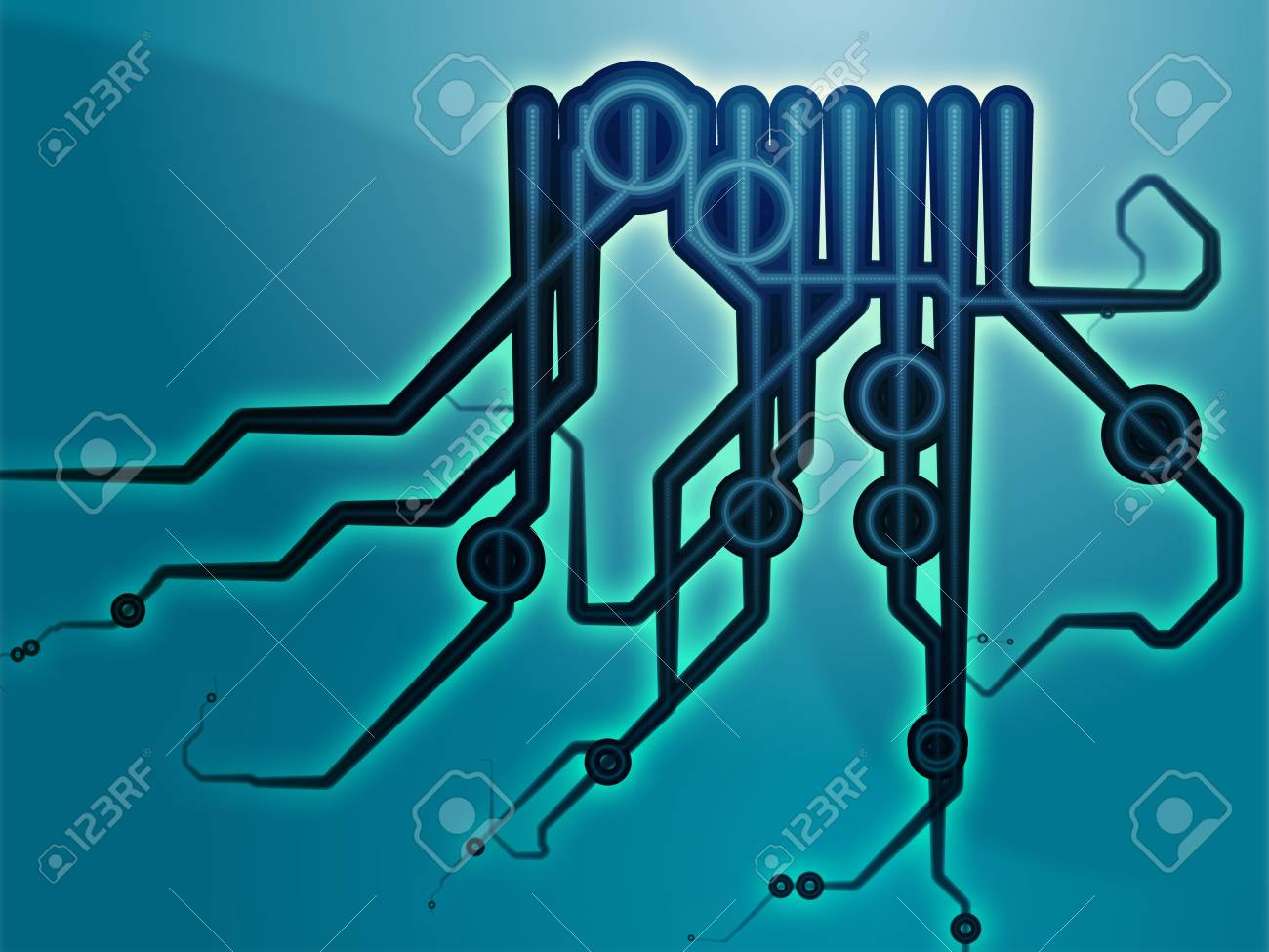 Abstract Technical Schematic Diagram Illustration With Circuitry ...