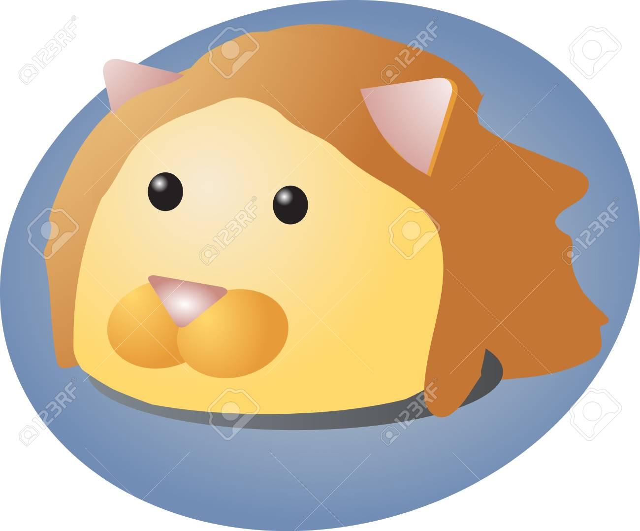 ライオン、かわいい動物イラストの漫画の頭 ロイヤリティーフリーフォト