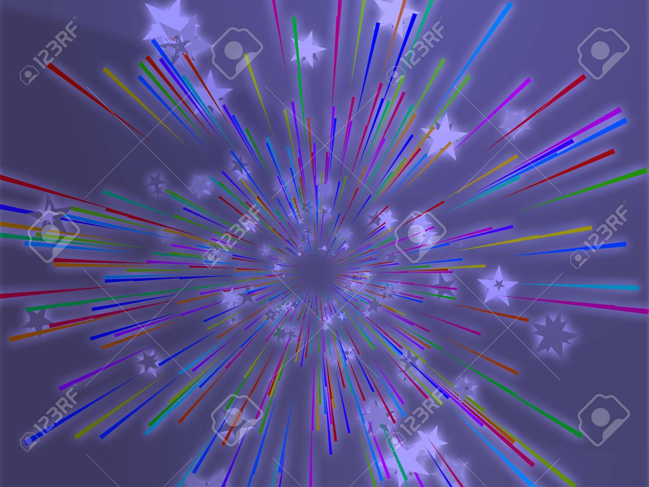 Central bursting explosion of dynamic flying stars, abstract illustration Stock Photo - 3857383