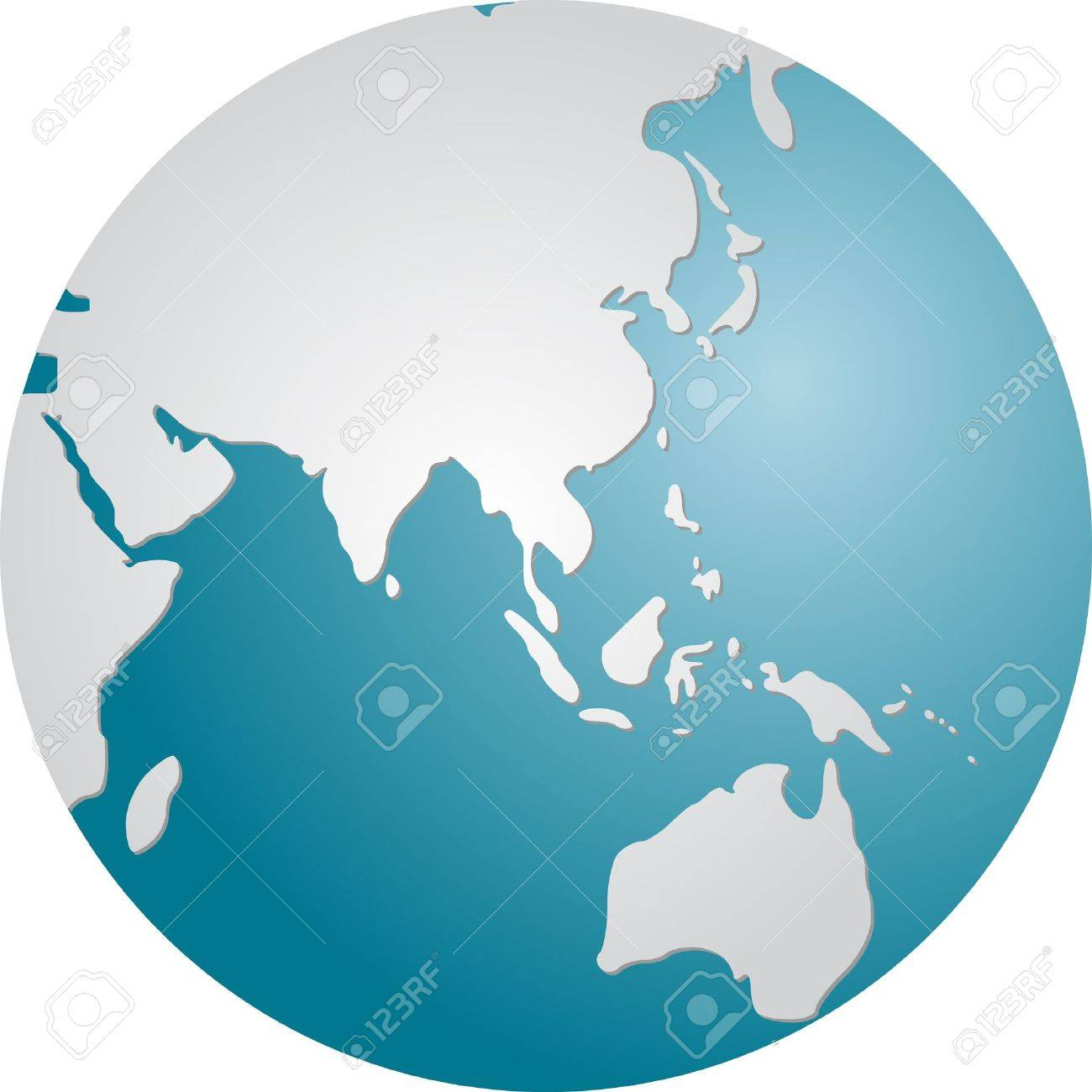 Globe map illustration of the Asia Pacific Stock Photo - 3857035