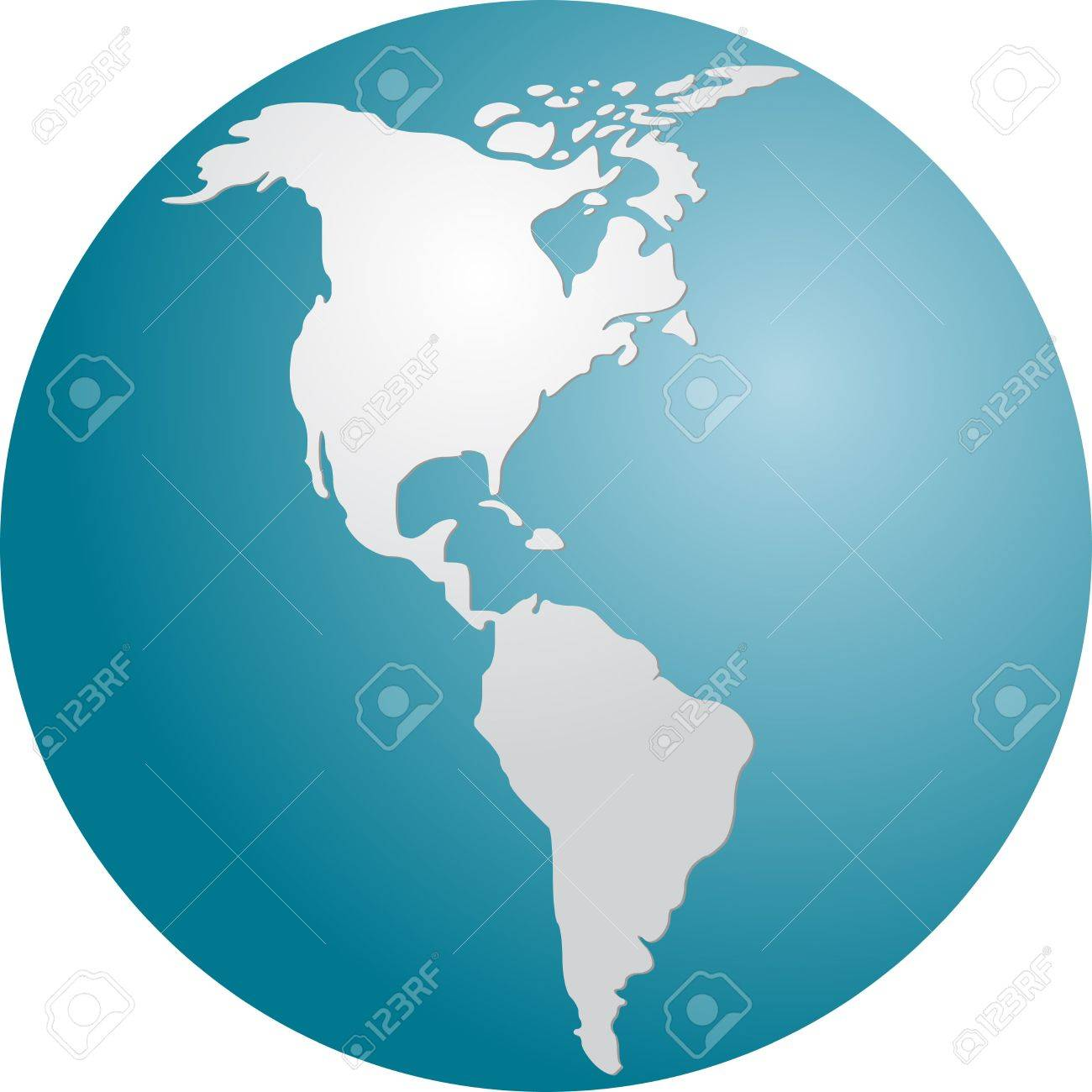 globe map illustration of the americas continents stock photo
