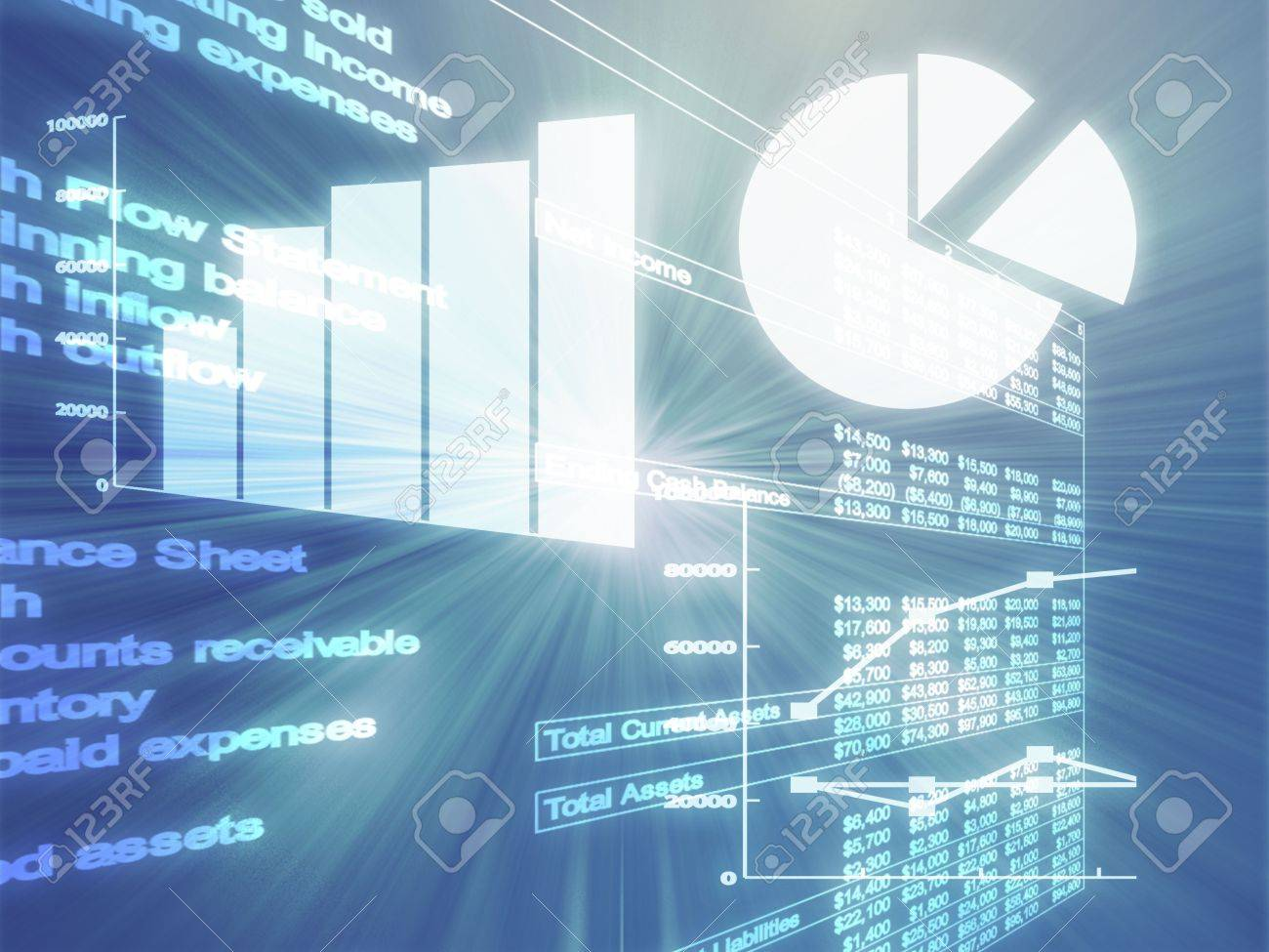 Illustration Of Spreadsheet Data And Business Charts In Glowing ...
