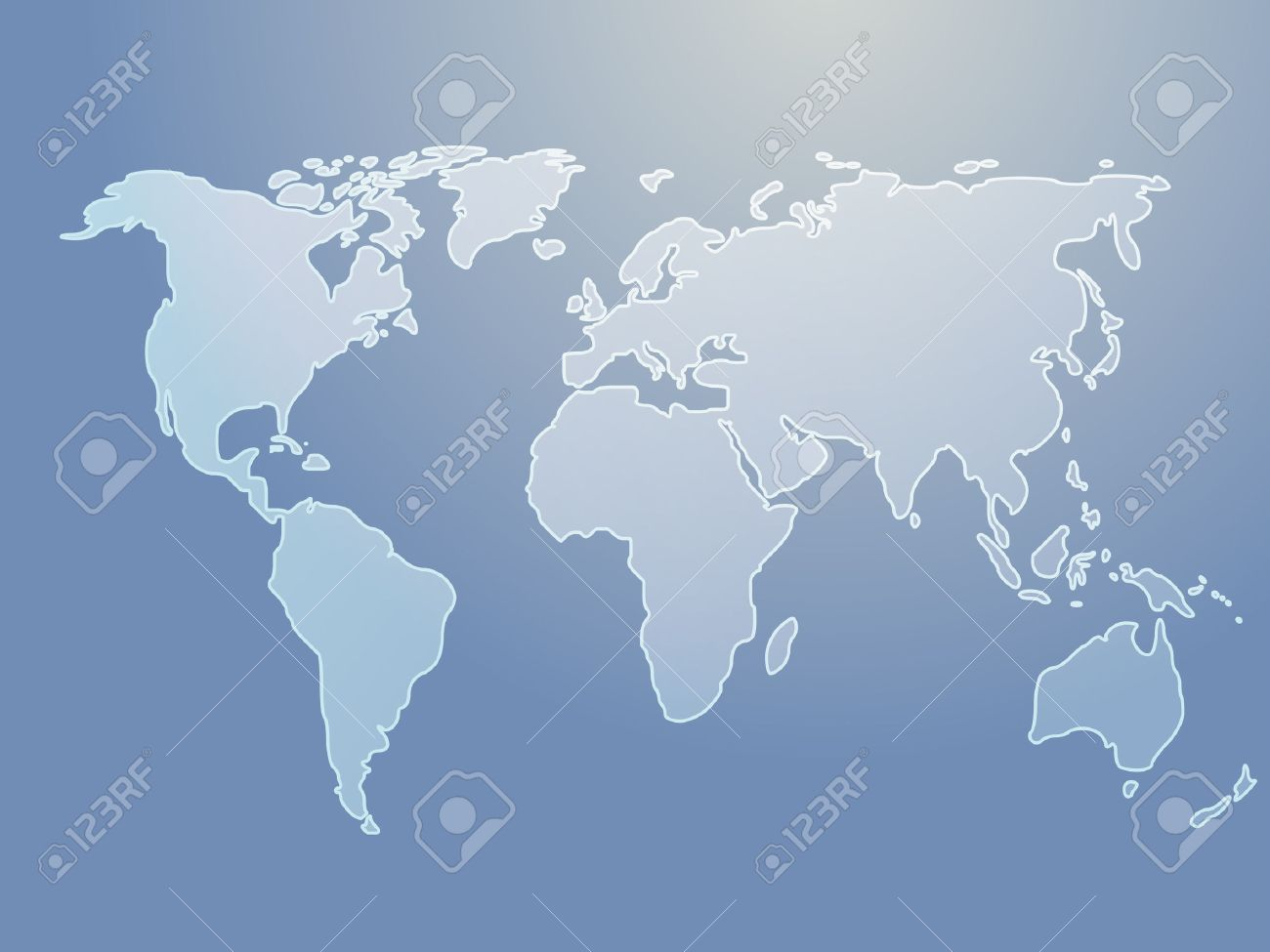Map of the world illustration, simple outline on gradient color Stock Vector - 3894171