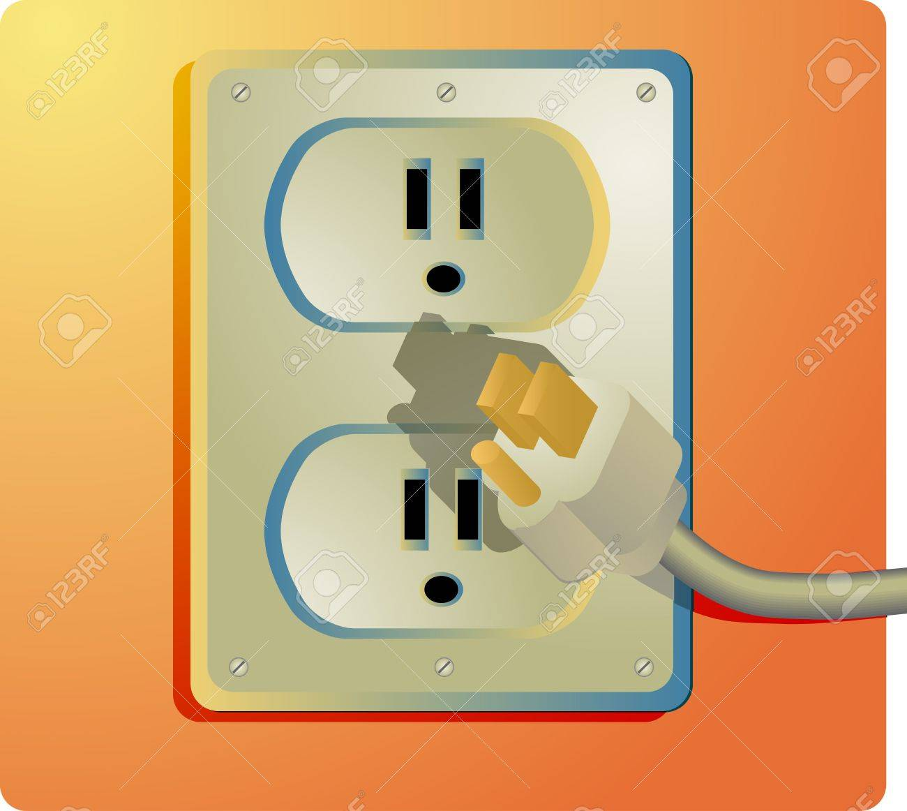 Electrical Outlet And Plug, Wall Socket US Style Stock Photo ...