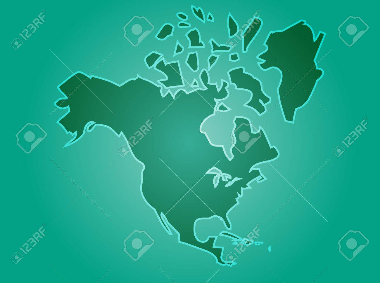 Map Of The North American Continent USA Canada Mexico Stock Photo - Usa canada mexico map