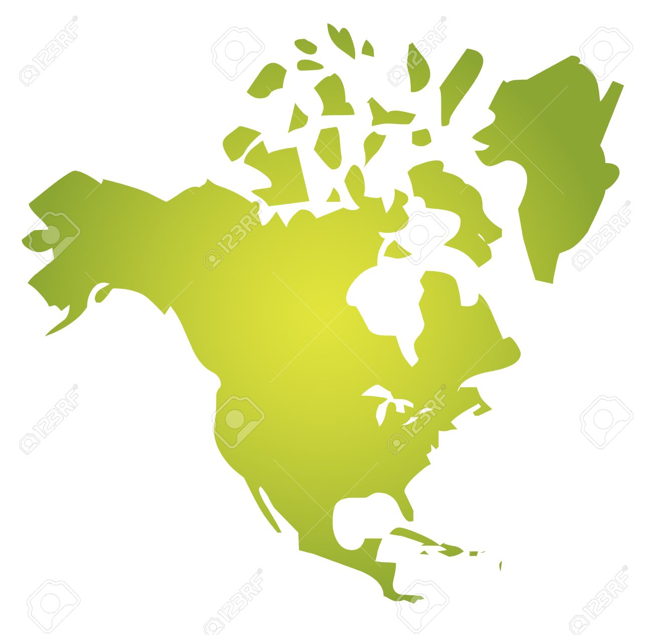 Map Of The North American Continent USA Canada Mexico Stock Photo