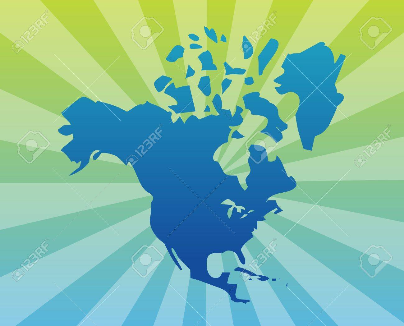 Map Of The North American Continent USA Canada Mexico Stock Photo - Map of north america and canada