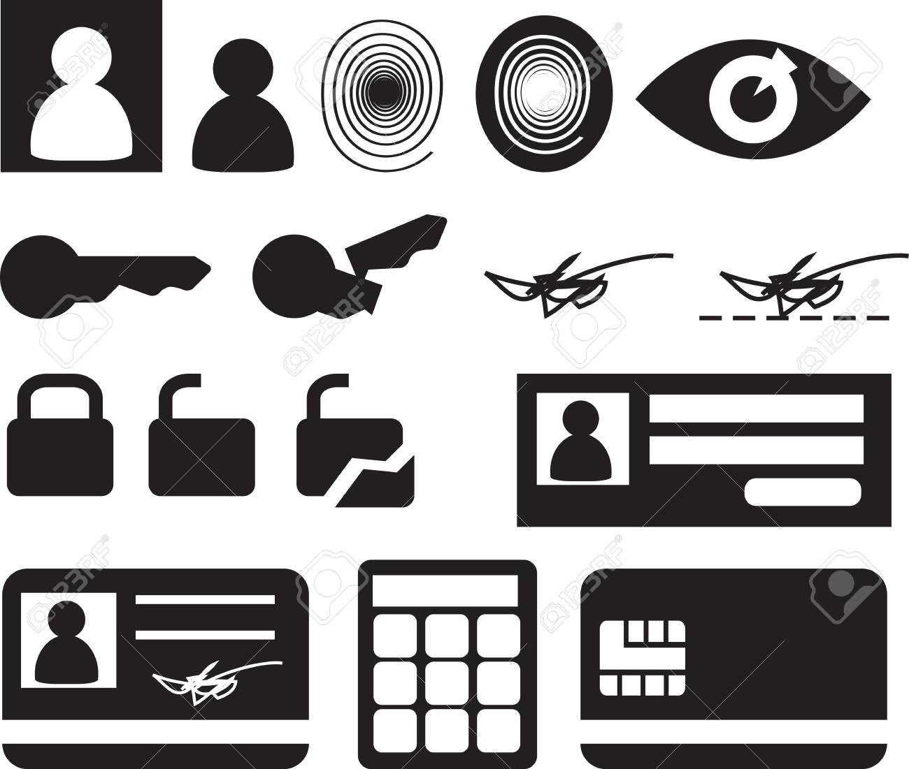 Security and biomtetric icon set, clipart illustration Stock Illustration - 4404419
