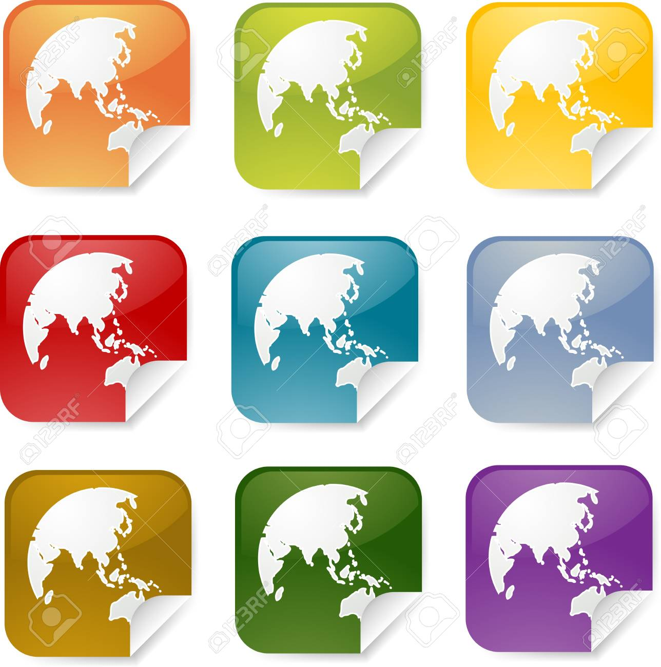 Map of Asia on square sticker, various colors Stock Photo - 4522998