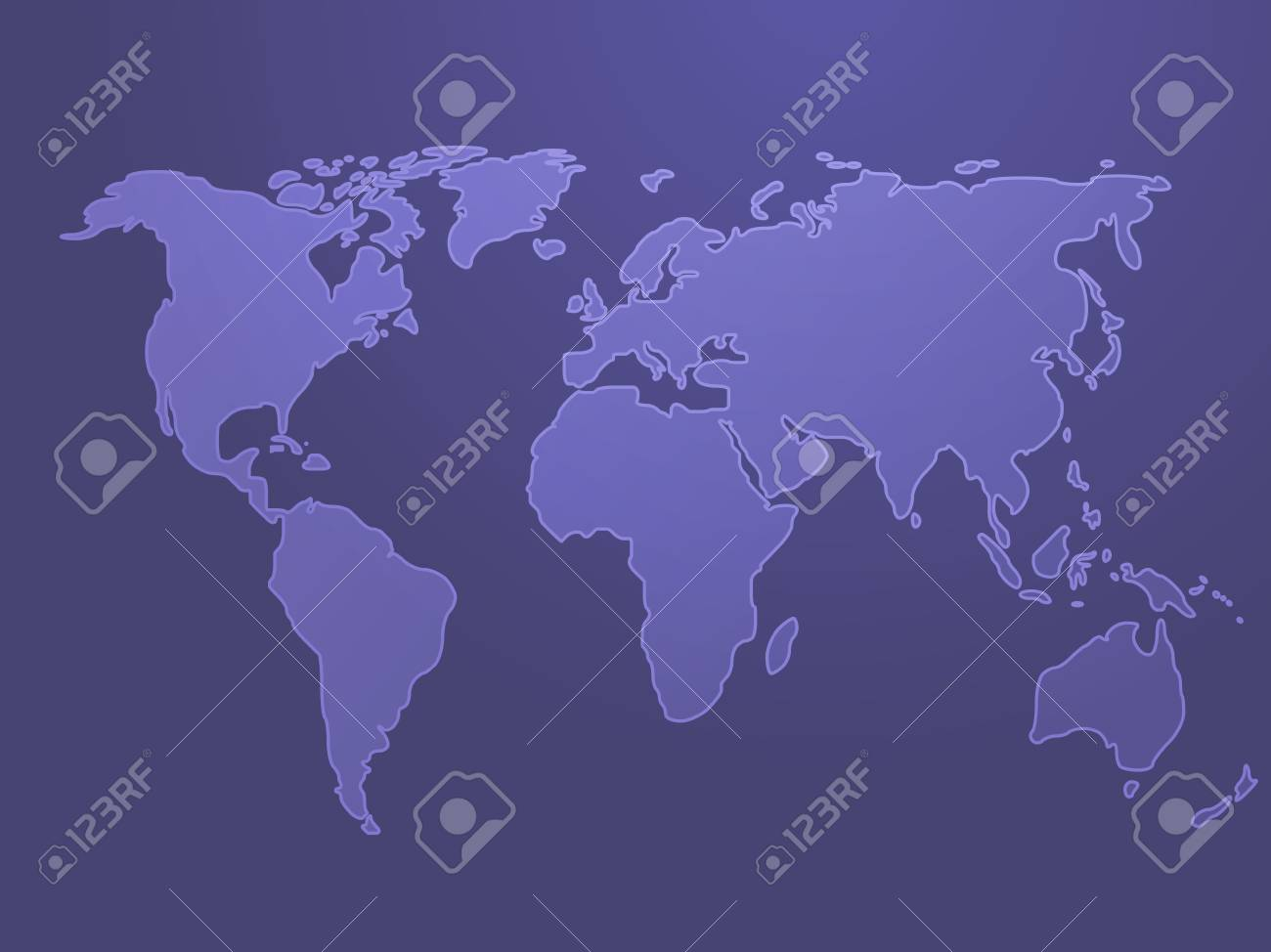 Map of the world illustration, simple outline on gradient color Stock Photo - 4551347