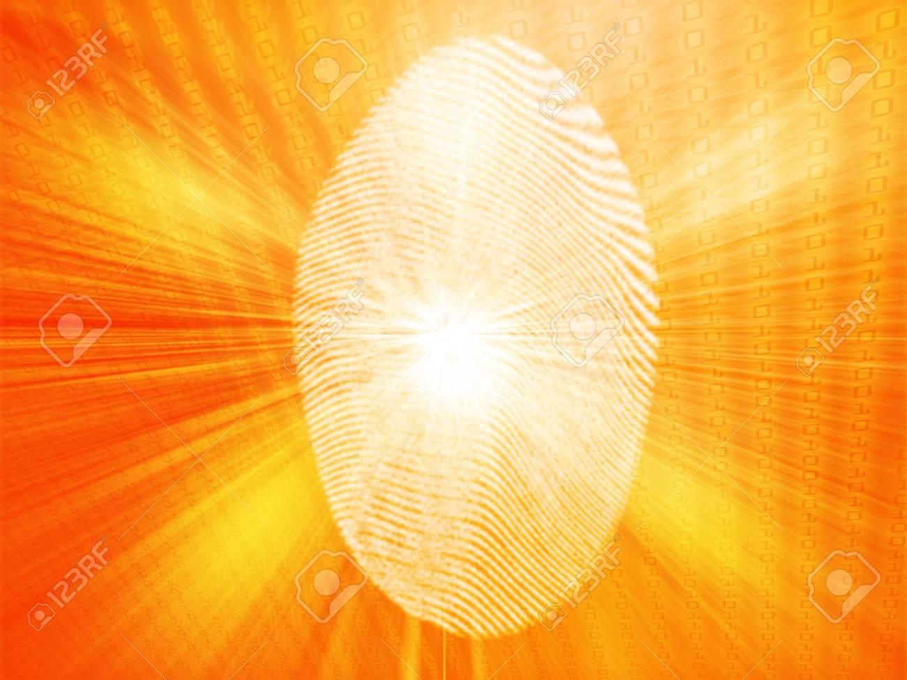 Digital fingerprint biometric security indentifaction, graphic illustration Stock Photo - 4558709