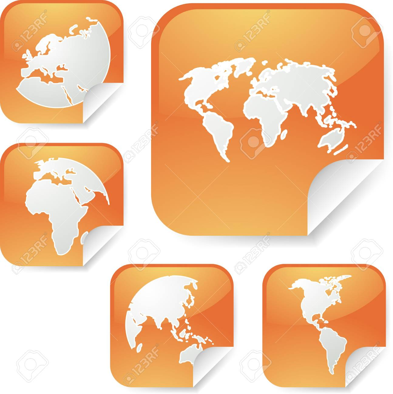 world map icons on square sticker shapes stock photo picture and