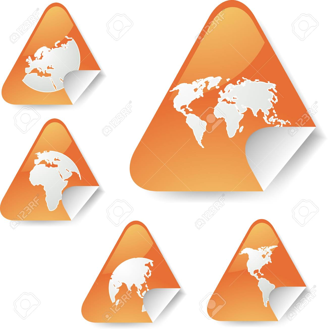 world map icons on triangle sticker shapes stock photo picture and