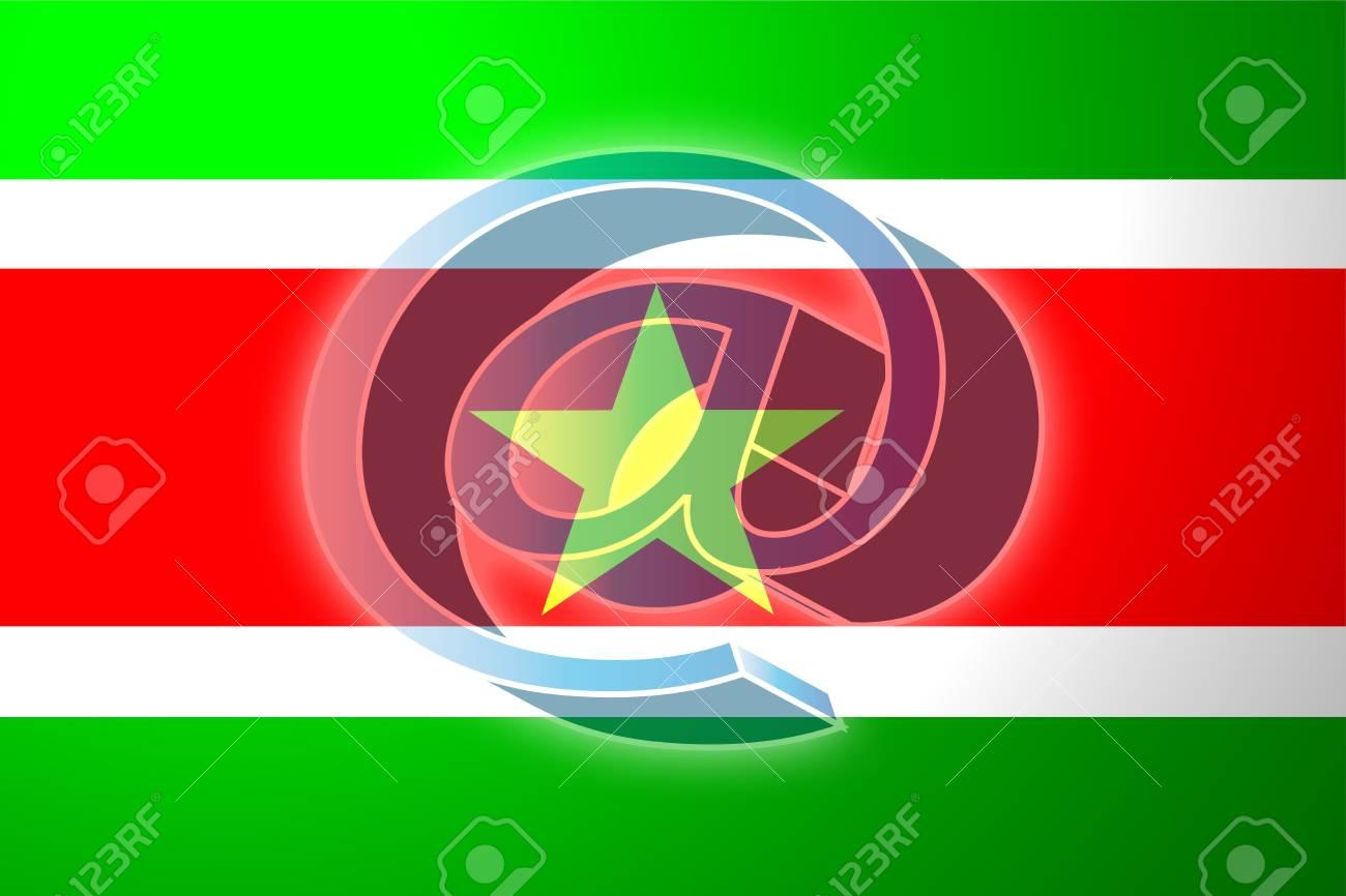 スリナムの旗、国立国シンボル図...