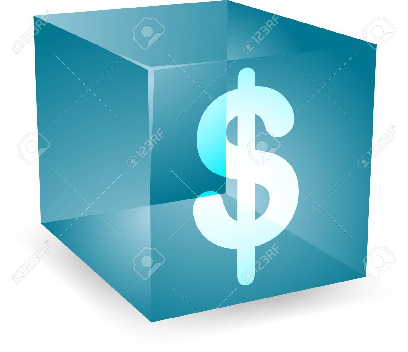 Dollar icon on translucent cube shape illustration Stock Photo - 4648079