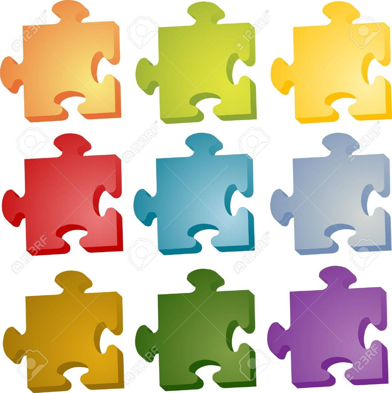 set of jigsaw puzzle pieces in different colors stock photo