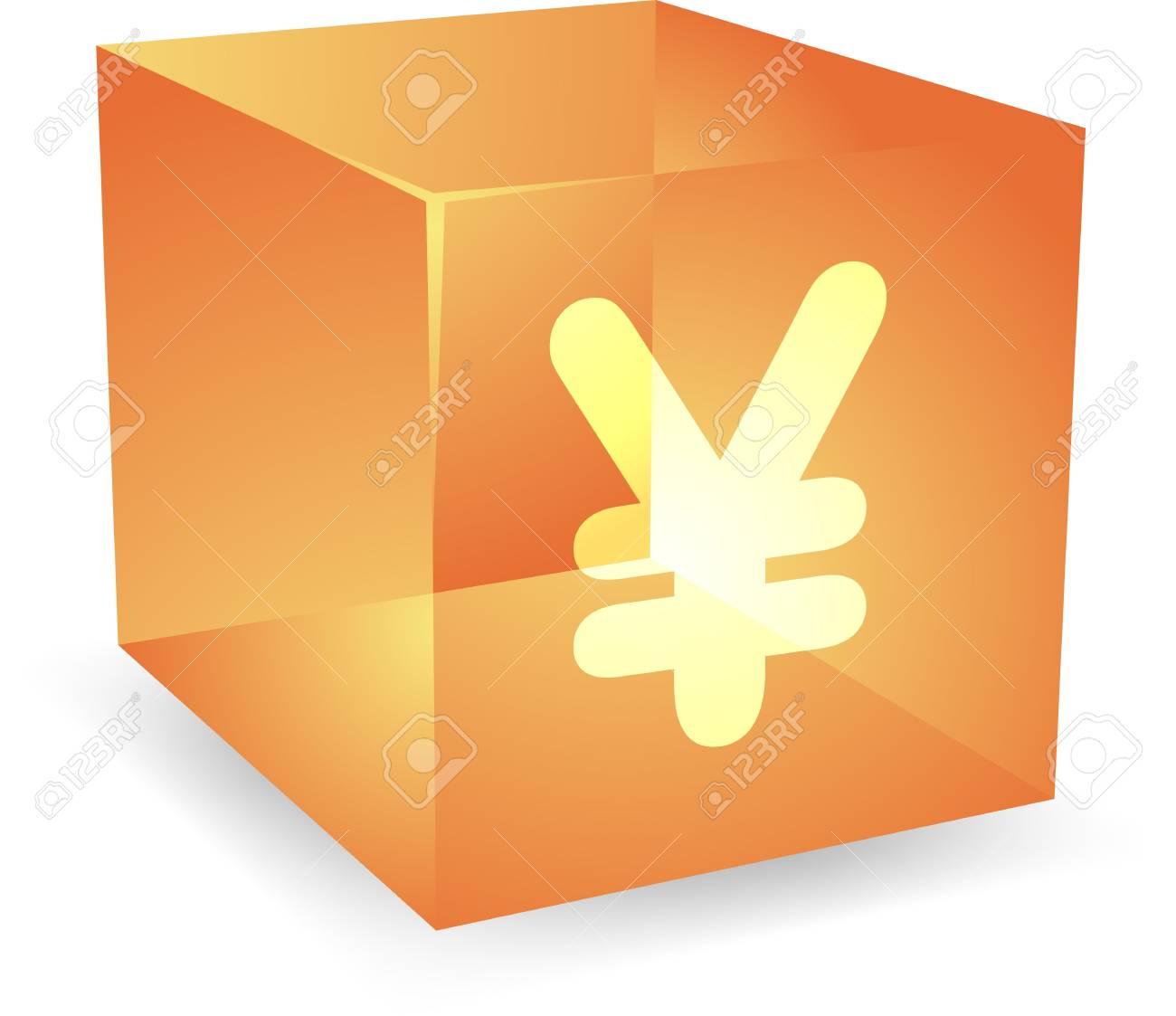 Japanese yen icon on translucent cube shape illustration Stock Illustration - 4698470