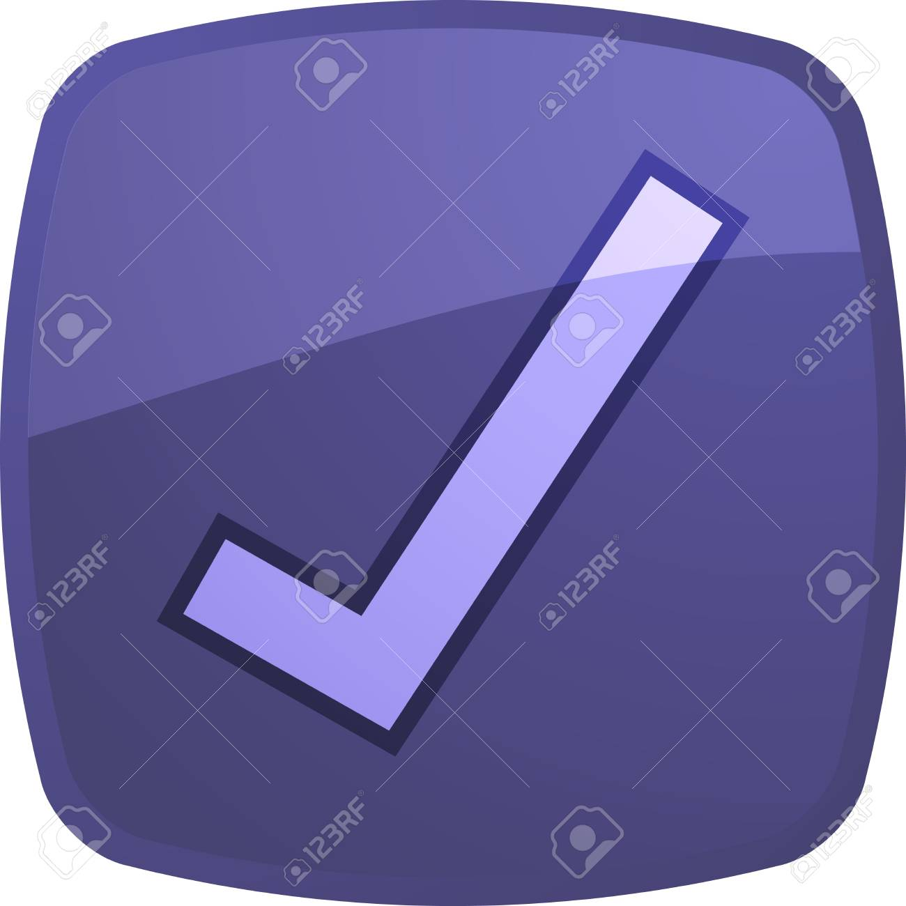 Confirm navigation icon glossy button, square shape Stock Photo - 4899259